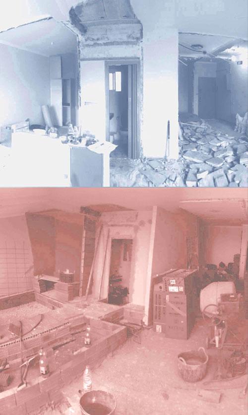 Derribo de paredes y suelos en reforma de vivienda en Barcelona por TC-Interiors