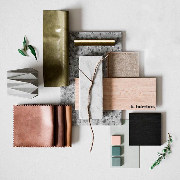 moodboard de materiales, productos, madera