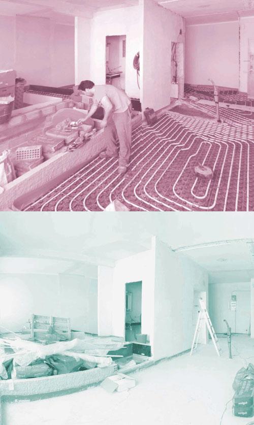 operario trabajando en obra de reforma integral de vivienda con suelo radiante de TC-Interiors